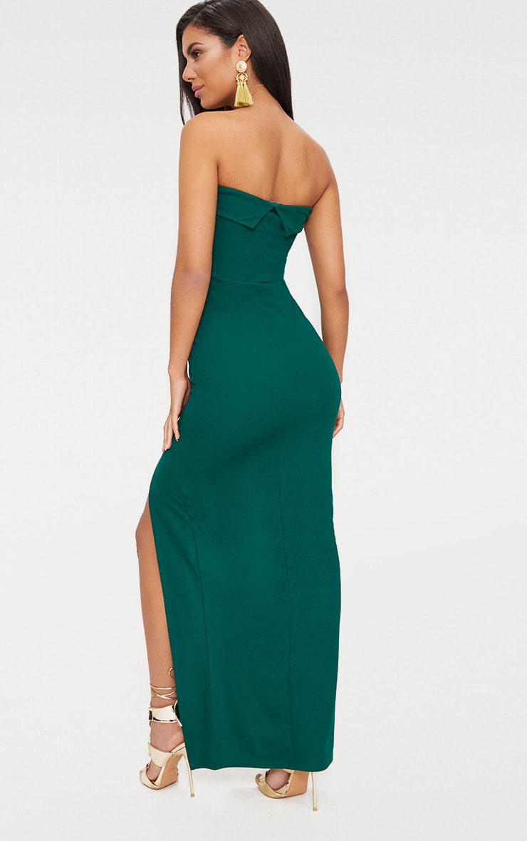 Emerald Green Bandeau Folded Detail Extreme Split Maxi Dress  2