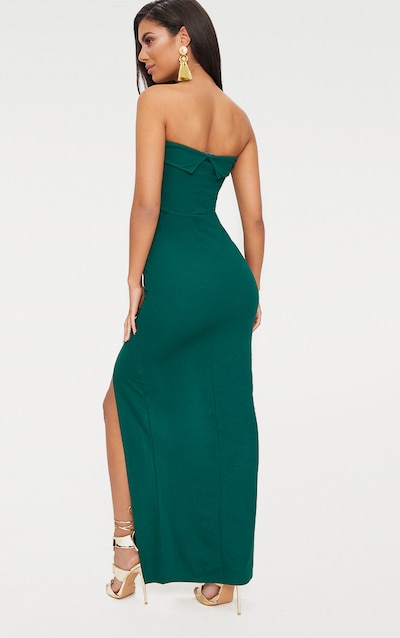 Emerald Green Bandeau Folded Detail Extreme Split Maxi Dress