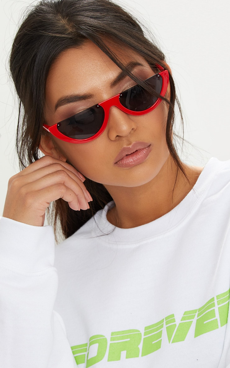Red Rounded Half Frame Retro Sunglasses 1