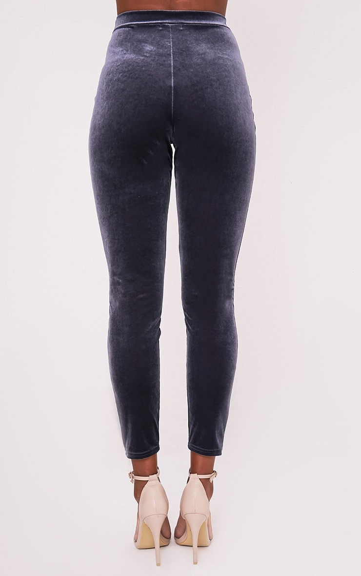 Sage Grey Velvet Cigarette Trousers 5
