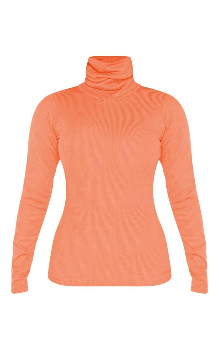 Petite Neon Orange High Neck Long Sleeve Top 3