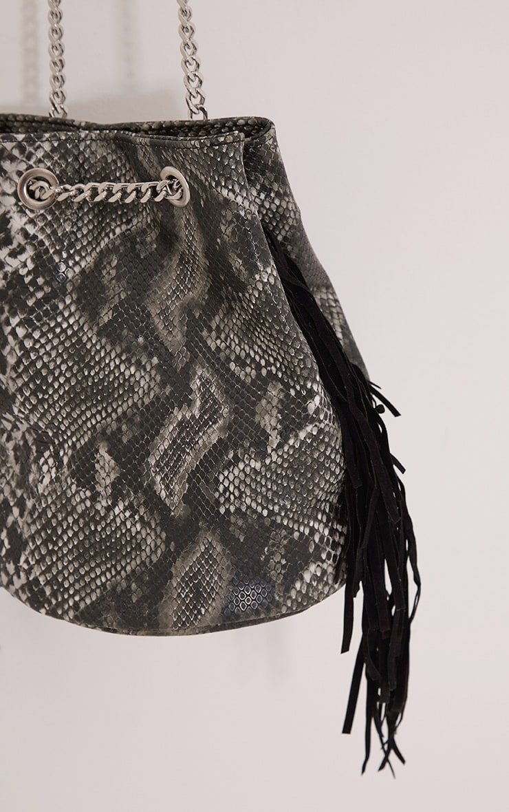 Zatara Grey Snake Print Bucket Bag 4