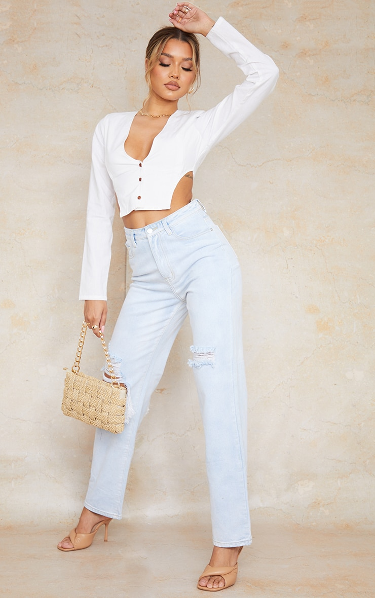 White Linen Feel Shoulder Pad Button Front Long Sleeve Crop Top 3