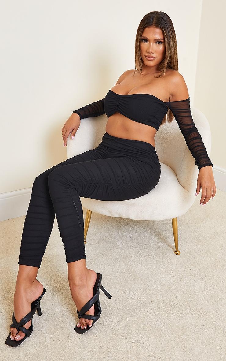 Shape Black Mesh Ruched Sleeve Bardot Crop Top 3