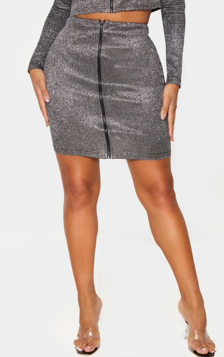 Shape Black Glitter Zip Front Bodycon Skirt  2