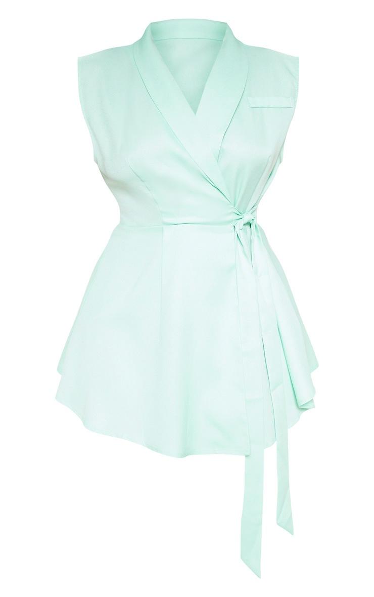 Plus Sage Green Drape Detail Sleeveless Blazer 3