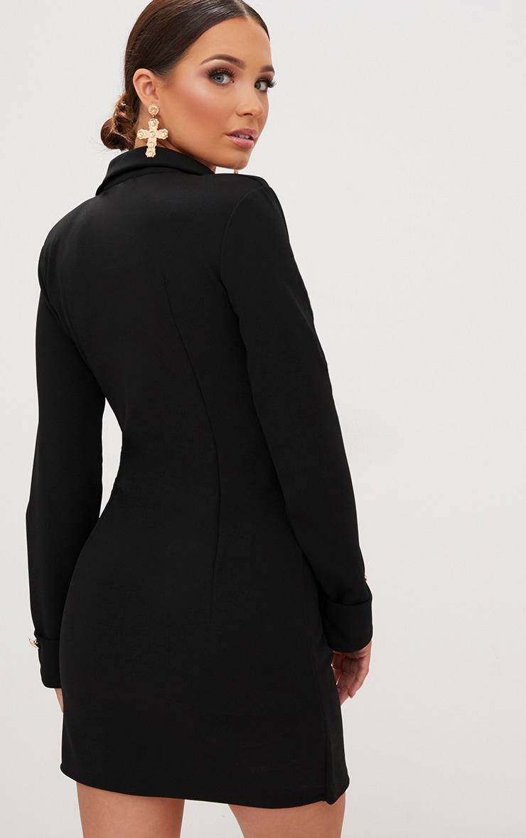 Black Gold Button Detail Blazer Dress 2