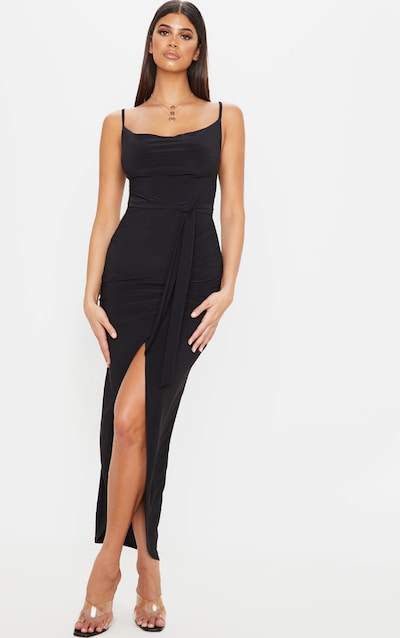 Black Cowl Neck Tie Waist Maxi Dress