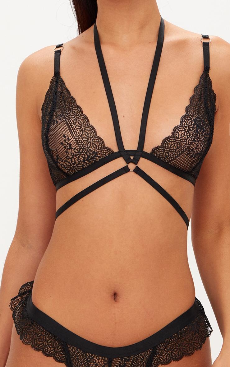 Black Choker Detail Wrap Around Triangle Lace Bralet 5