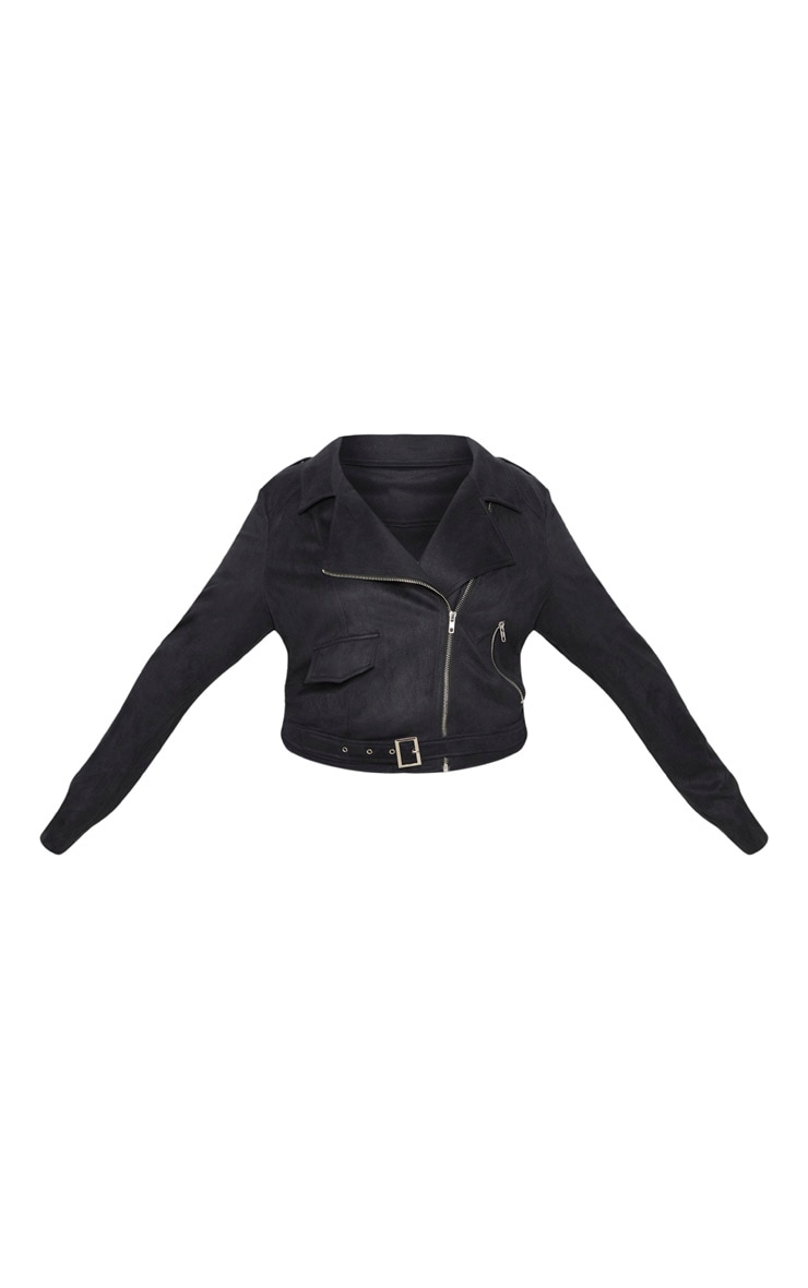 Plus Black Faux Suede Biker Jacket 3