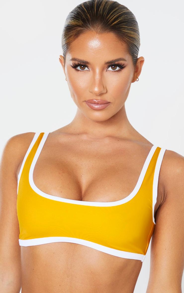 Orange Recycled Contrast Scoop Neck Bikini Top 5