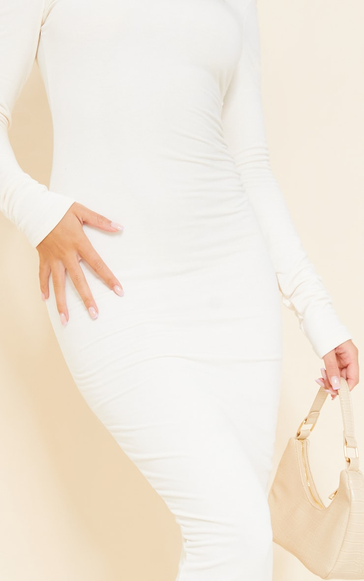 Recycled Cream Contour Jersey Long Sleeve Thumb Hole Scoop Back Midaxi Dress 4