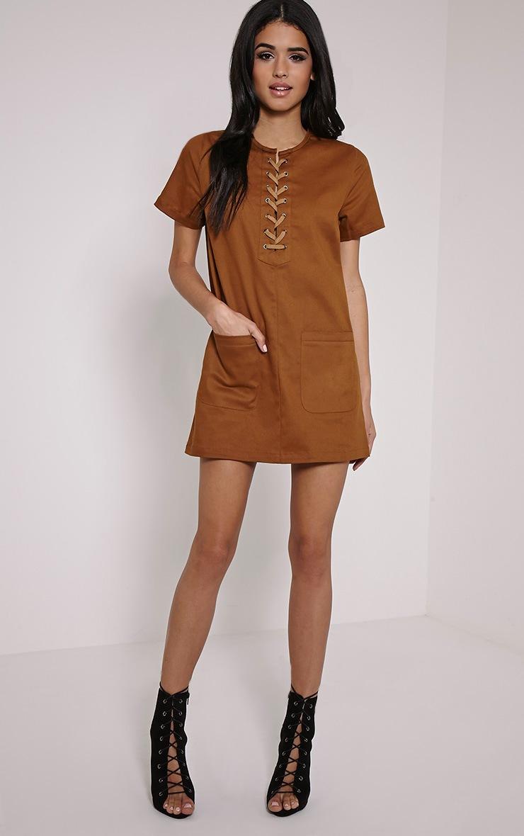 Merci Brown Lace Up Detail Shift Dress 3
