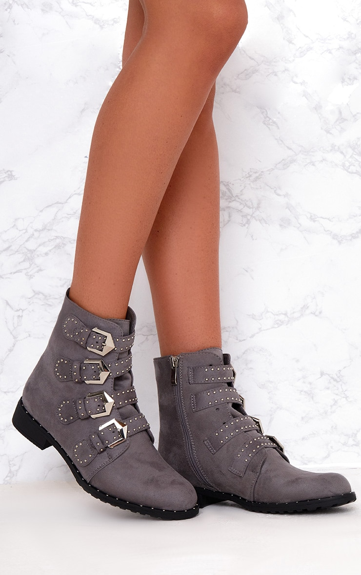 Grey PU Studded Buckle Ankle Boots  1