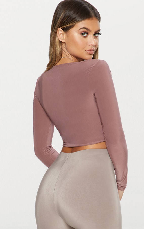 Stone Second Skin Square Neck Long Sleeve Crop Top  2