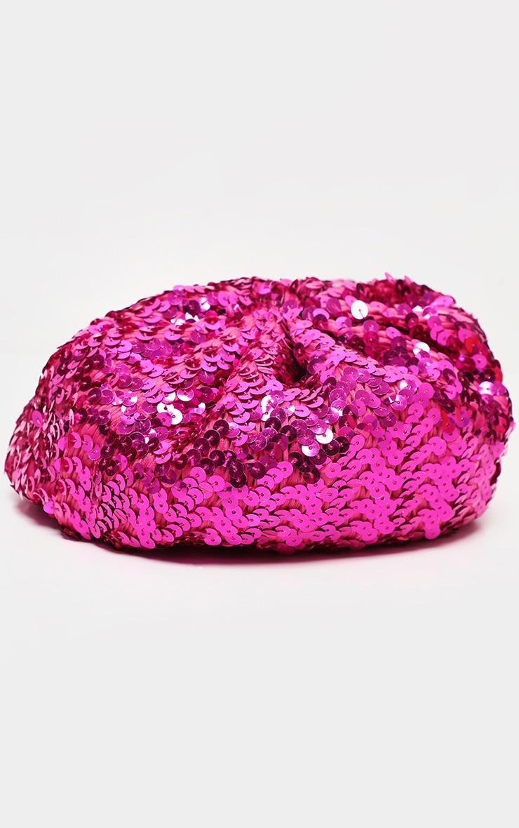 Pink Sequin Beret 2