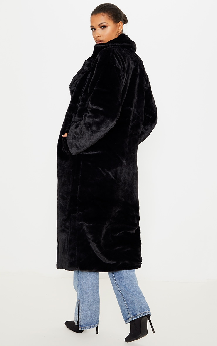 Black Maxi Faux Fur Button Front Coat 2