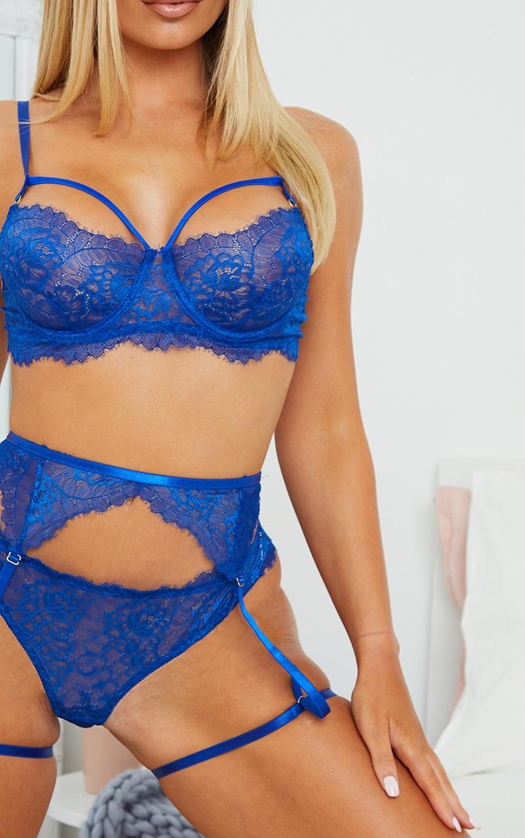 Cobalt Harness Strap Delicate Lace Suspender 3 Piece Lingerie Set 4