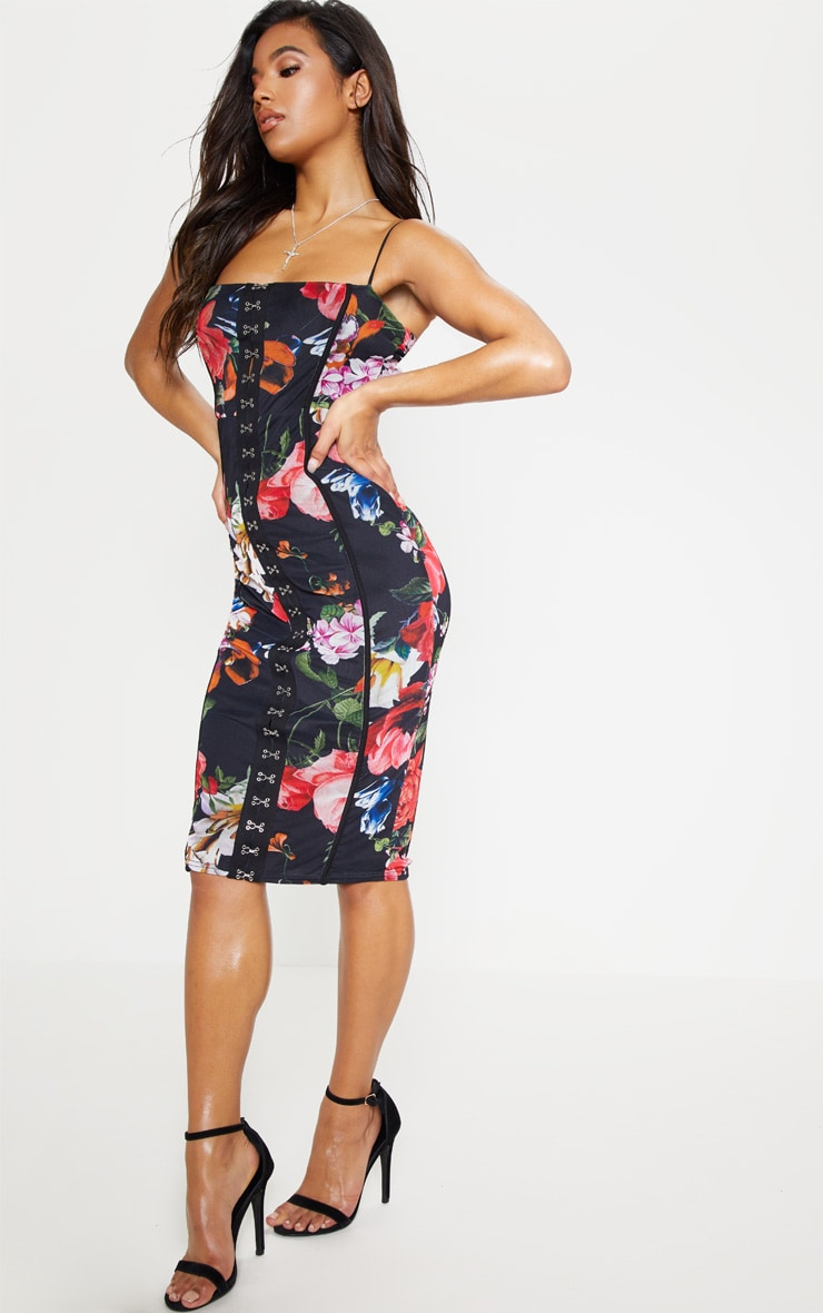 Black Floral Print Strappy Piped Detail Midi Dress 5