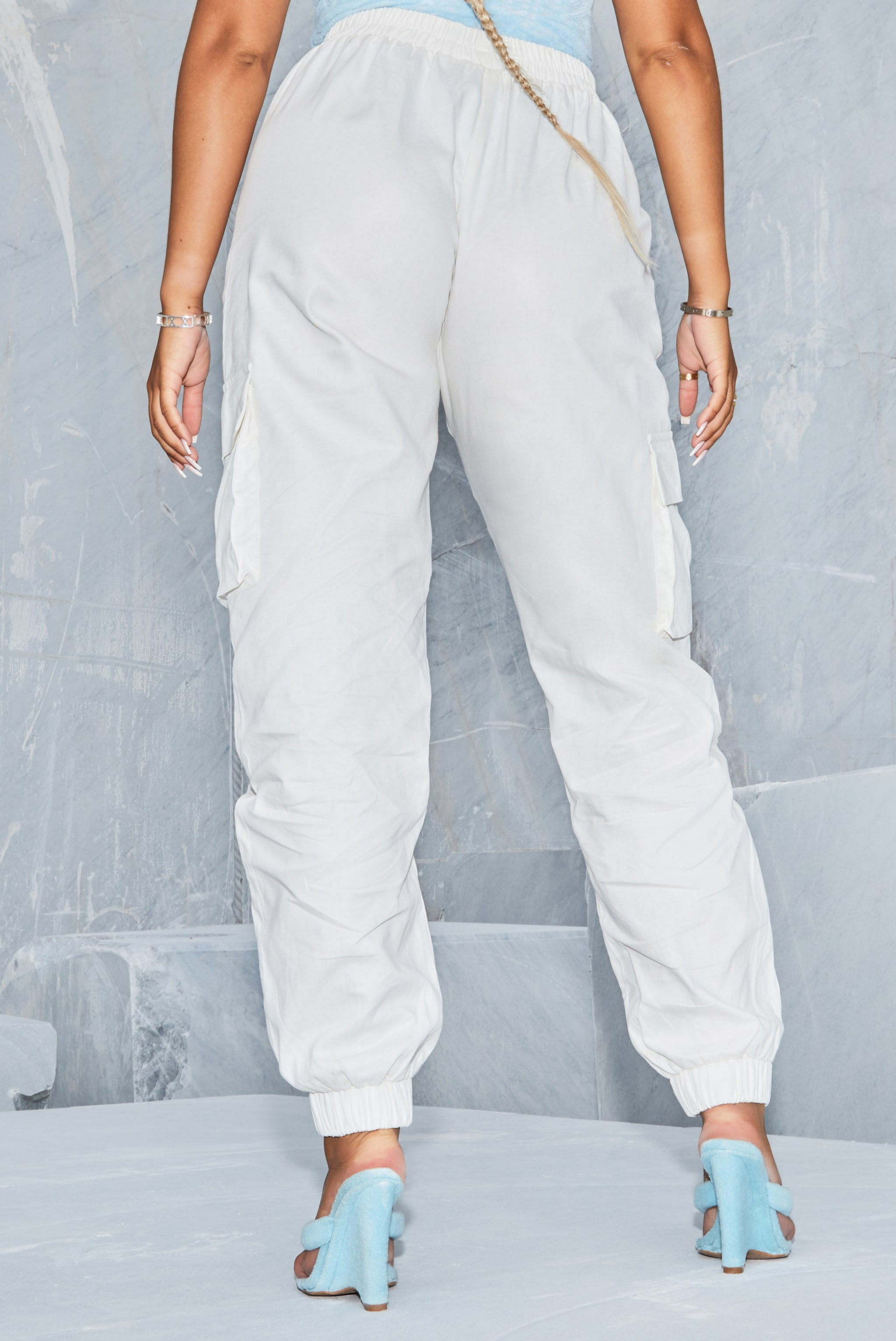 White Cargo Trousers 3