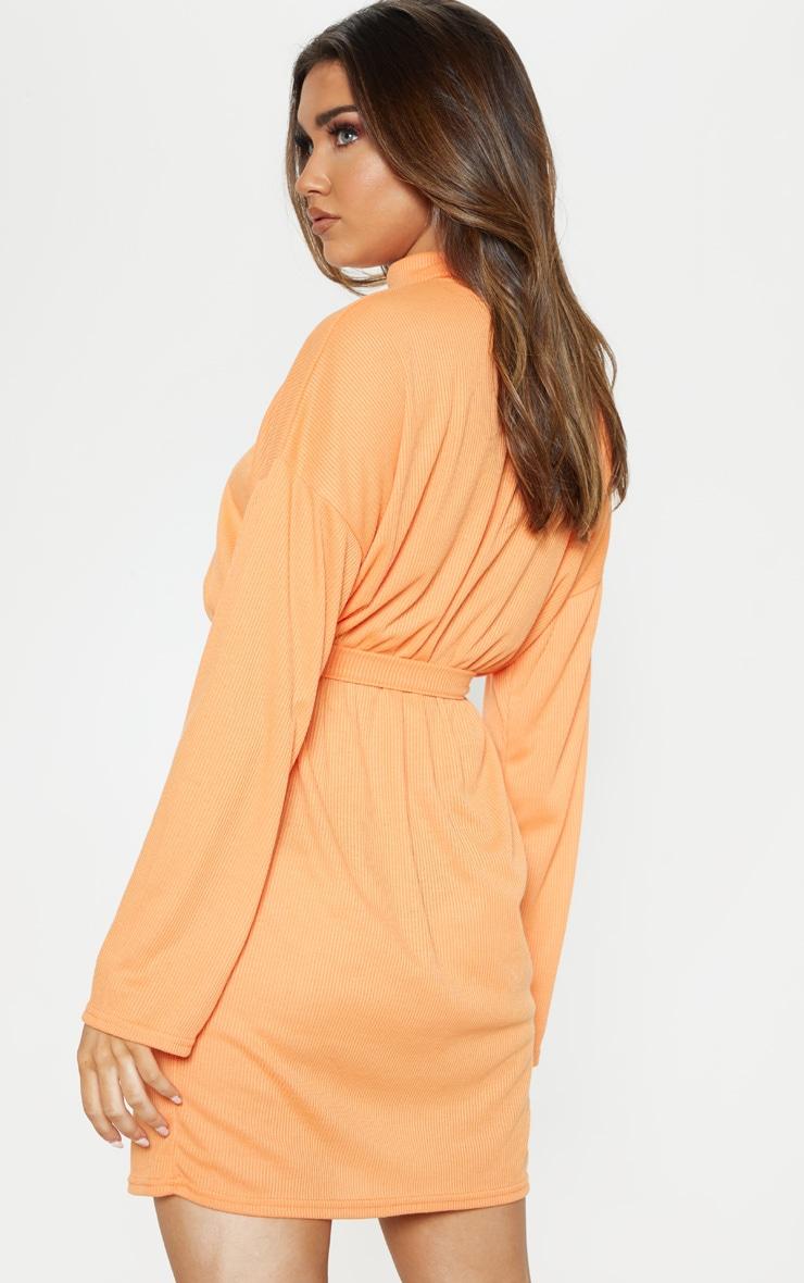 Orange Rib High Neck Batwing Sleeve Tie Waist Dress 2