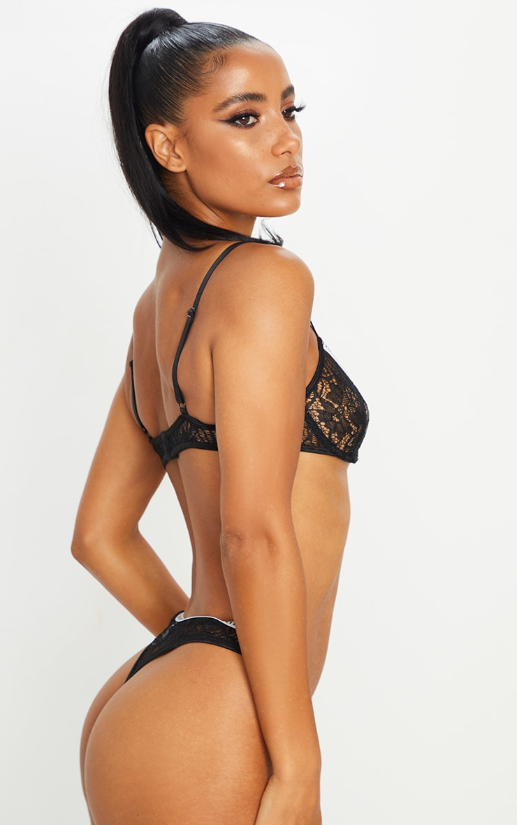 PRETTYLITTLETHING Black Floral Lace Thong 3