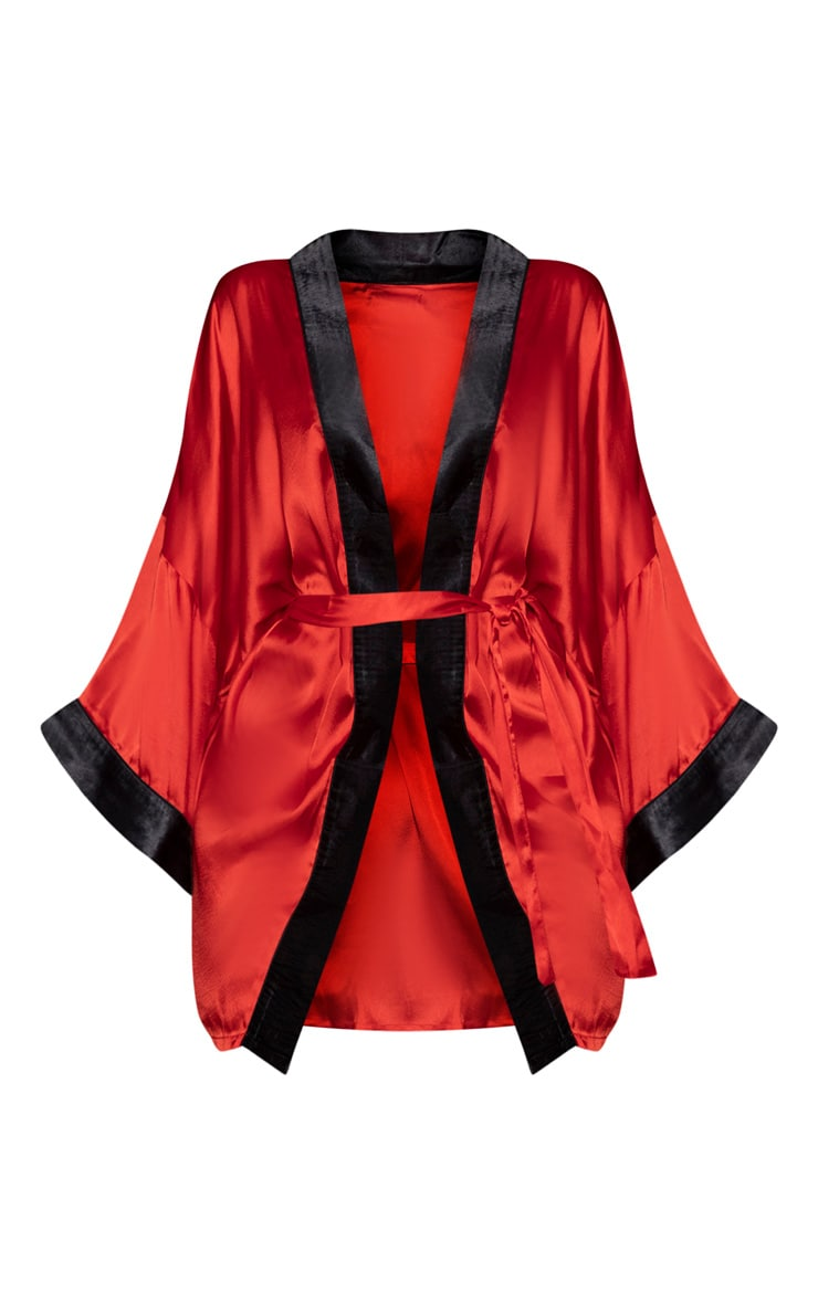 PRETTYLITTLETHING Red Satin Robe 5