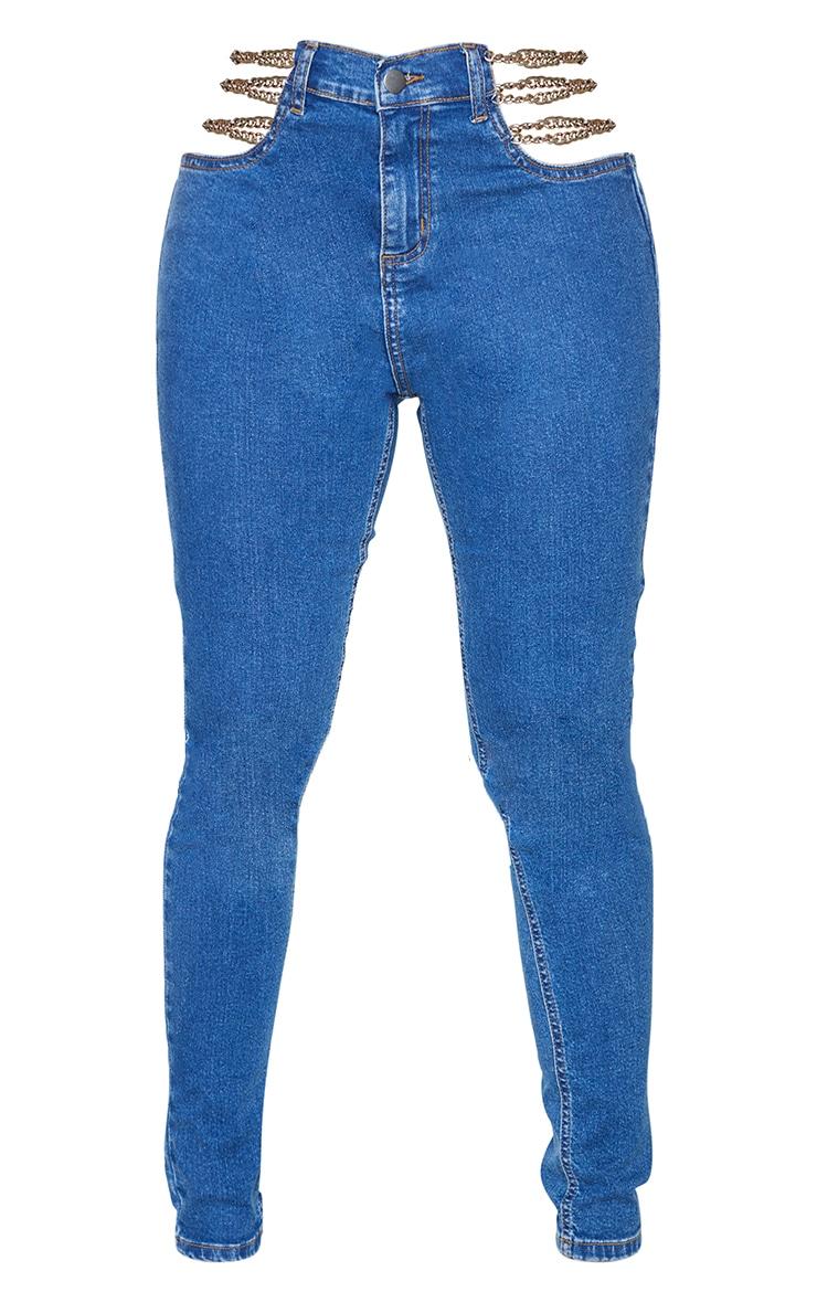 Shape - Jean skinny bleu moyennement délavé découpé détail chaîne 5