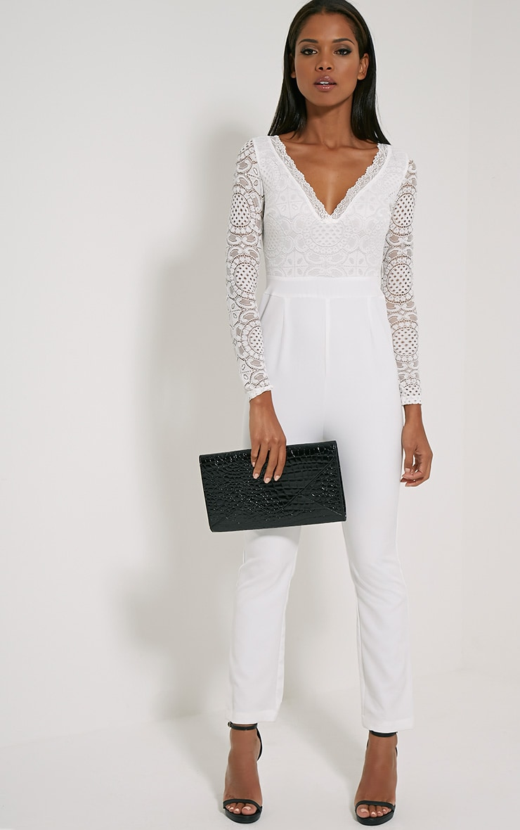 Anissa White Lace Sleeve Jumpsuit 3