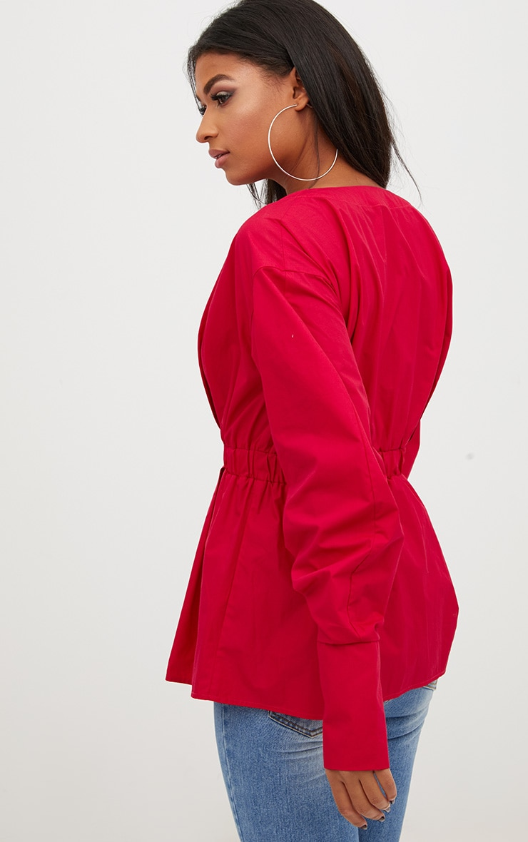 Red Ruched Sleeve Gathered Waist Shirt  2