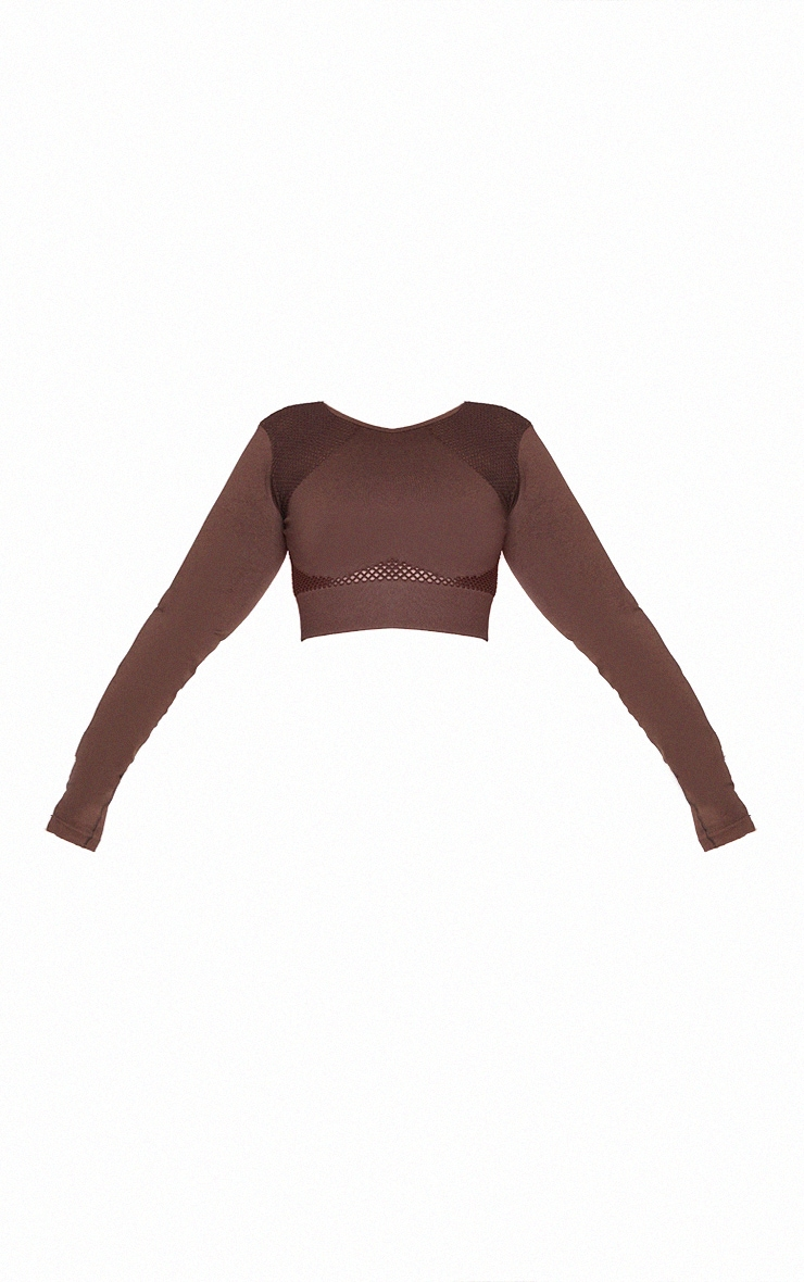 Plus Chocolate Cut Out Seamless Long Sleeve Top 5