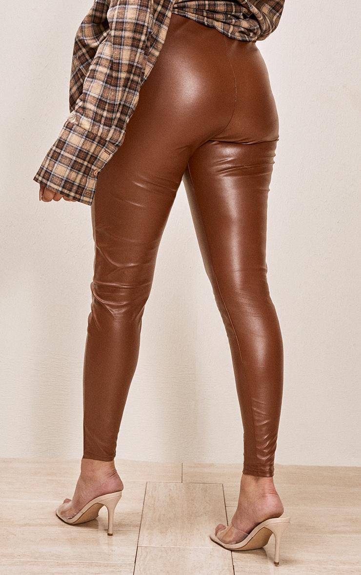 Tan Faux Leather Leggings 3