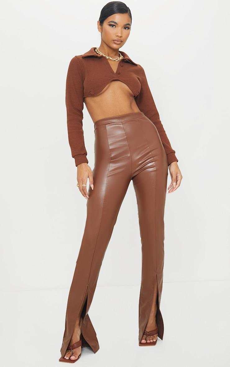 Camel Faux Leather Seam Detail Split Hem Pants 1