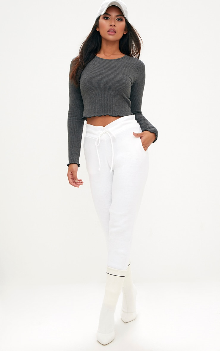Grey Ribbed Longsleeve Frill Edge Crop Top 4
