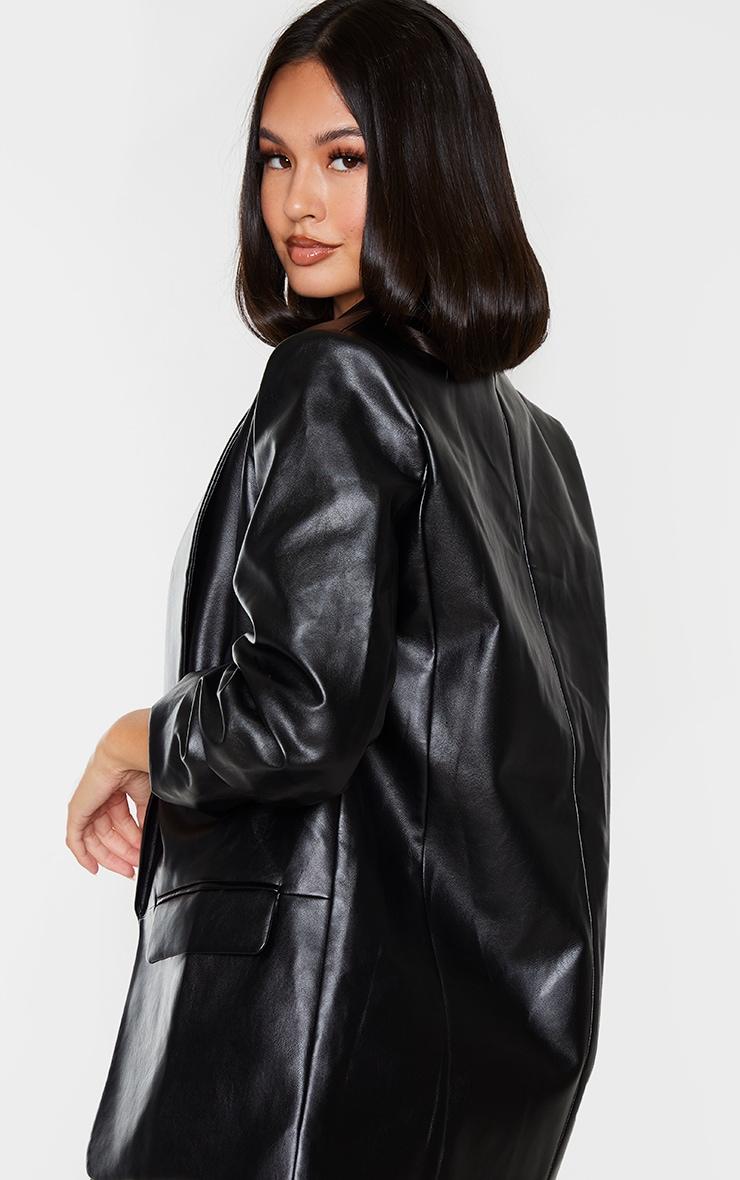 Black PU Lapel Long Line Ruched Sleeve Blazer 2
