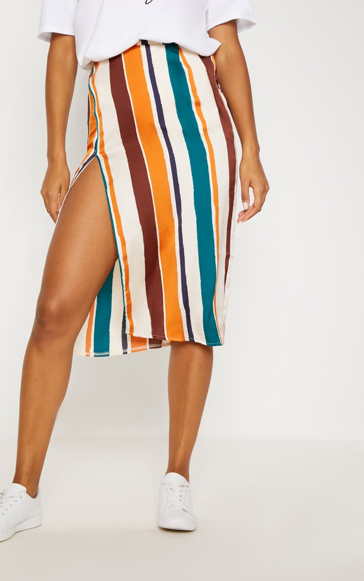 Orange Satin Stripe Midi Skirt 2