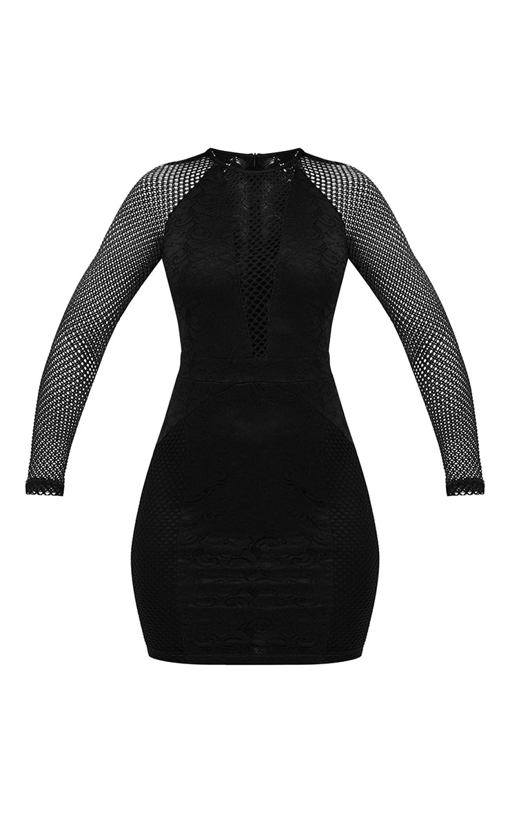 Black Long Sleeved Panelled Lace Bodycon Dress 3