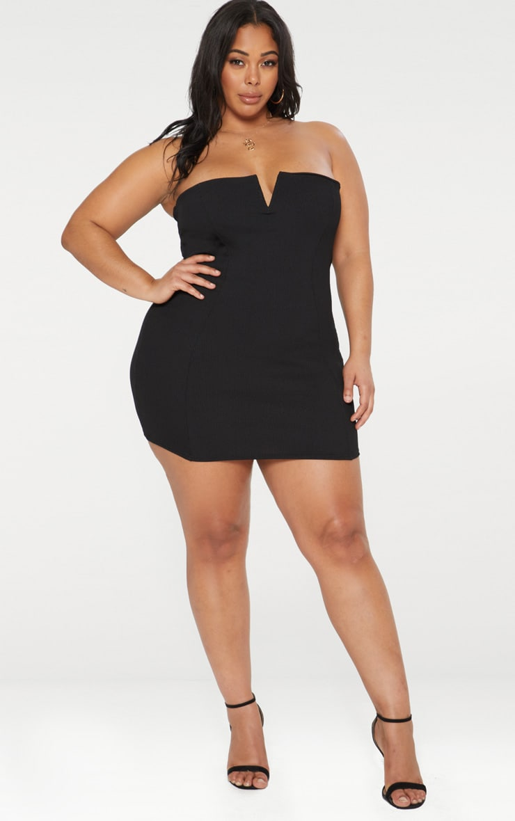 Plus Second Skin Black Ribbed Panelled V Bar Bandeau Bodycon Dress 3