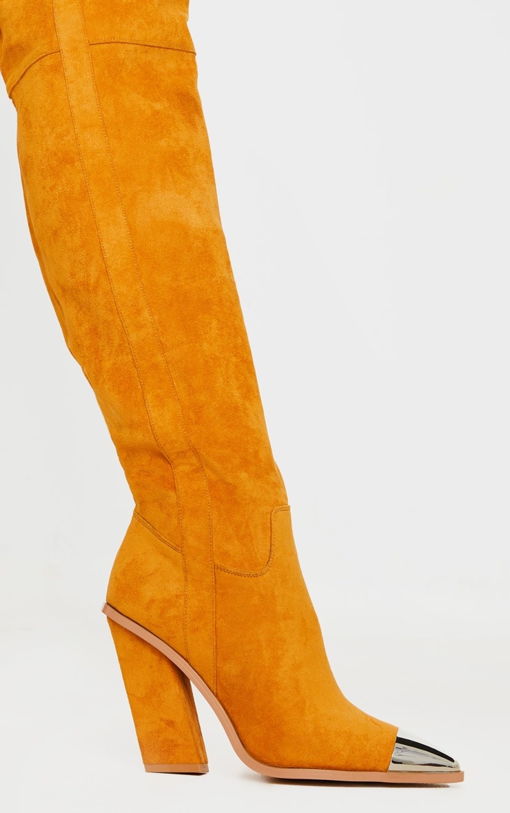 Tan Metal Toe Thigh Boot 4