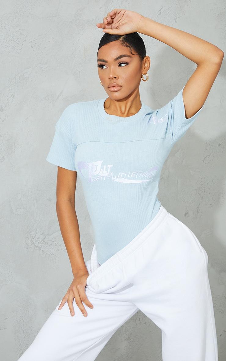 PRETTYLITTLETHING Baby Blue Ribbed Bodysuit 1