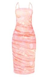 Tall  Pink Floral Print Print Mesh Ruched Maxi Dress 5