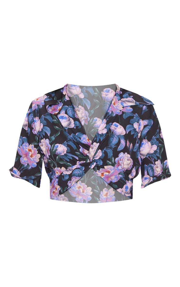 Dark Lilac Floral Printed Twist Front Crop Blouse 3
