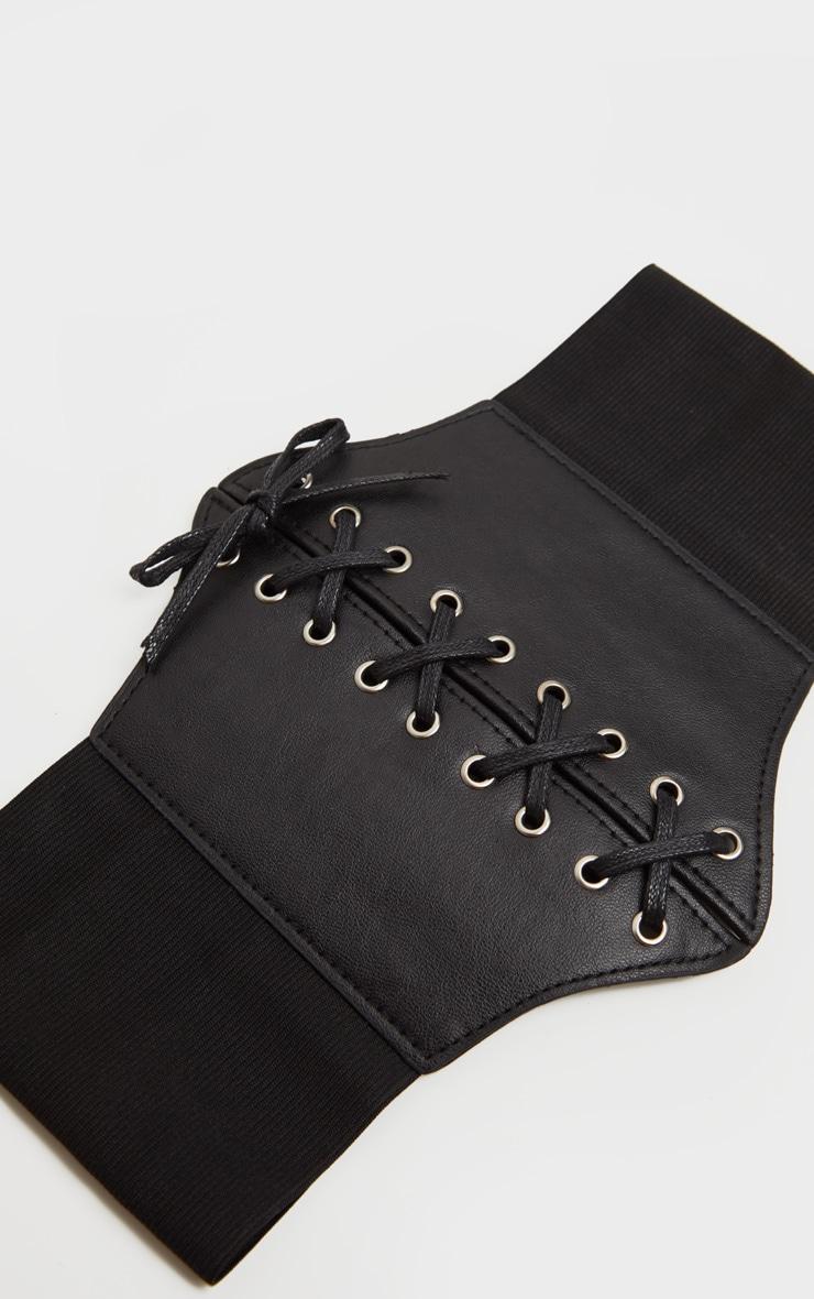 Ceinture corset en similicuir noir à lacer 3