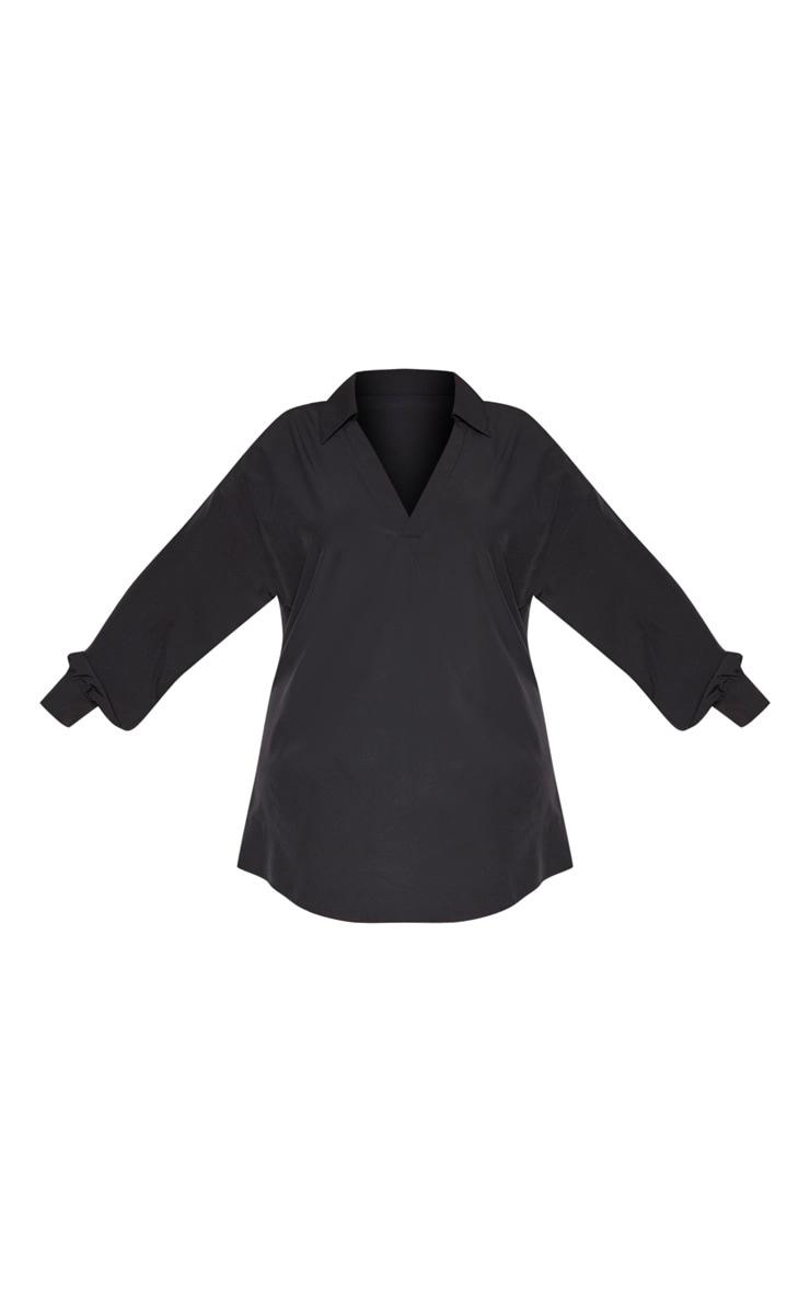 Plus Black V Neck Plunge Shift Dress 3