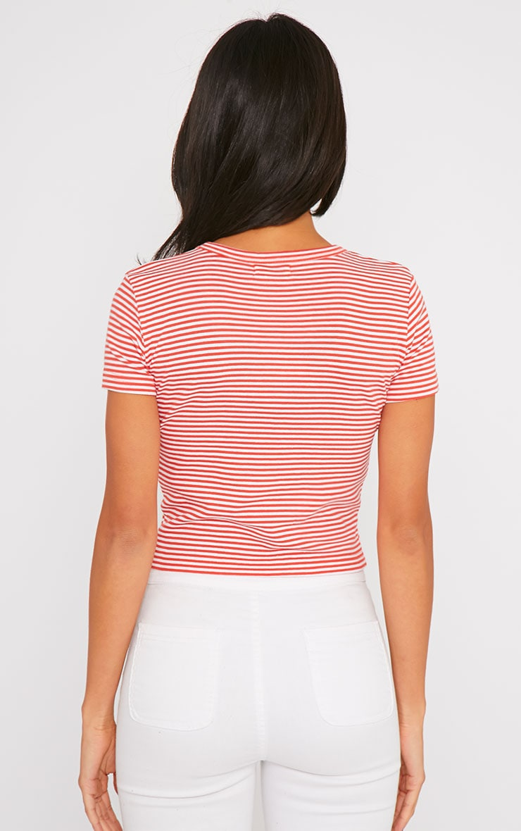 Bertie Red Stripe Crop Tee 2