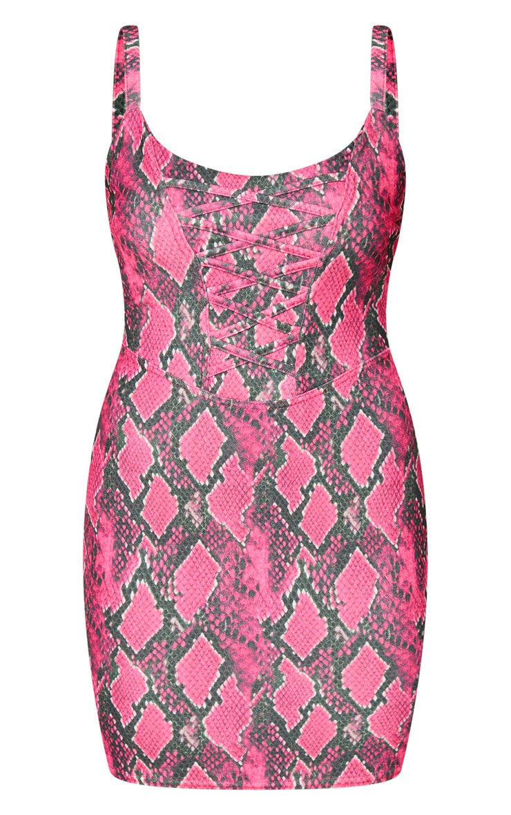 Hot Pink Snake Print Corset Detail Sleeveless Bodycon Dress 5