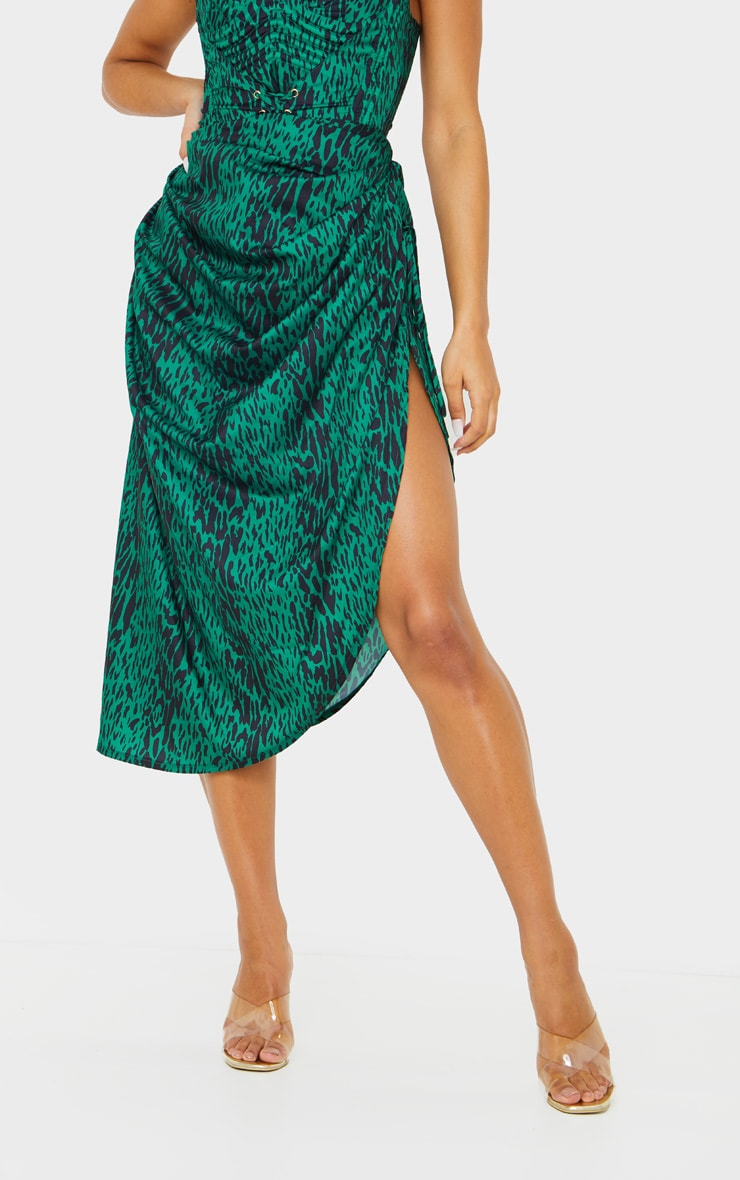Green Leopard Print Ruched Tie Side Midi Skirt 2