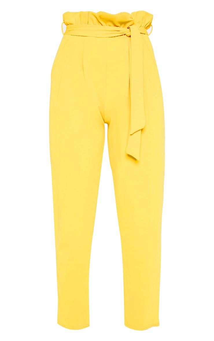 Mustard Paperbag Slim Leg Pants 3