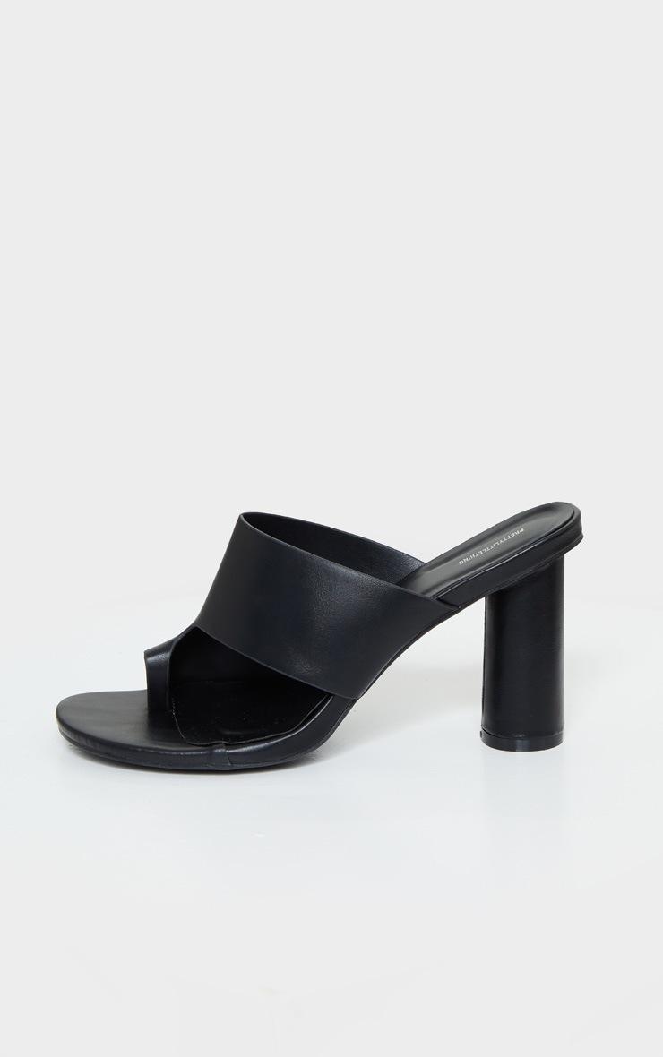 Black Cylinder Heel Single Toe Strap Mule 4