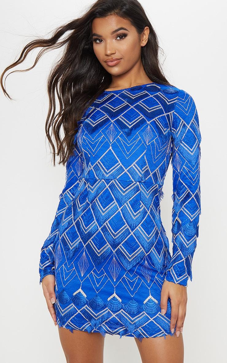 Cobalt Embroidered Tassel Bodycon Dress